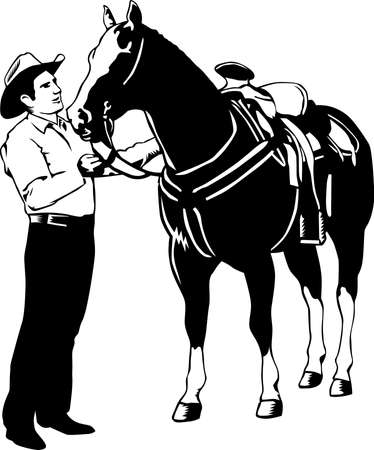 Horse and Cowboy Illustration