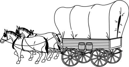 Covered Wagon Illustration Vettoriali