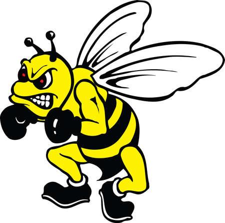 A bee mascot illustration. 向量圖像