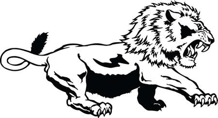 crouch: Lion Crouching Illustration
