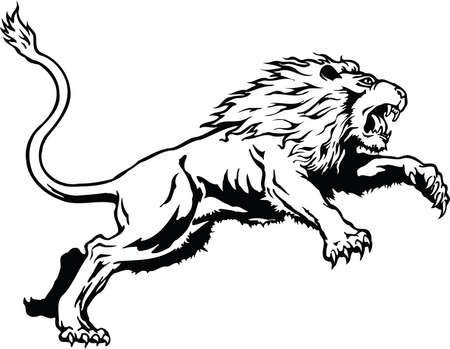 Lion Leaping Illustration