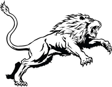 Lion Leaping Illustration