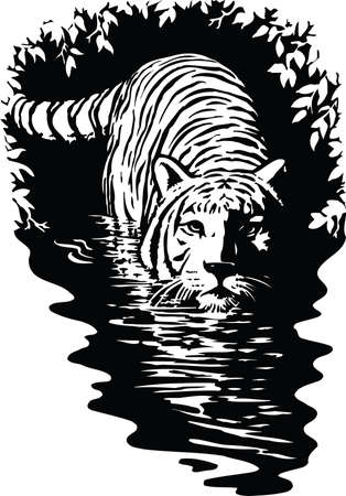 Tijger in water illustratie Stock Illustratie