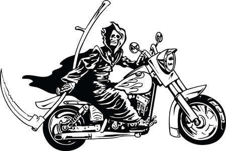 Grim Reaper on Motorcycle Illustration