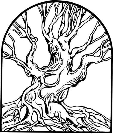 Tree illustration on white background. 向量圖像