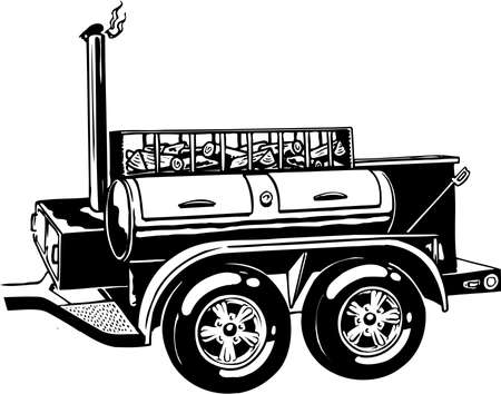 Mobile barbecue illustration on white background.