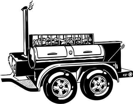 Mobilny grill ilustracja na białym tle.