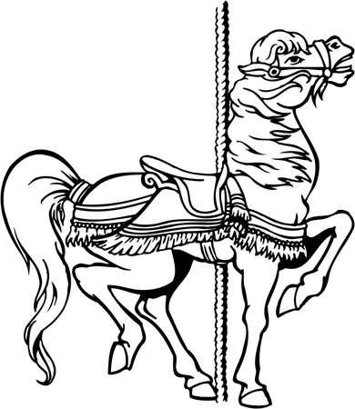 Carousel horse illustration on white background. Stock Illustratie
