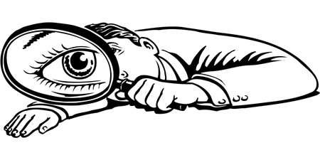 虫眼鏡の図を持つ少年