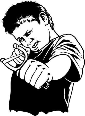 Boy with Slingshot Illustration