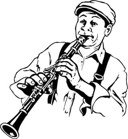 Illustrazione del giocatore di clarinetto Archivio Fotografico - 87613115