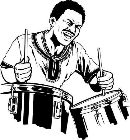 A drummer illustration on white background. Фото со стока - 87613123