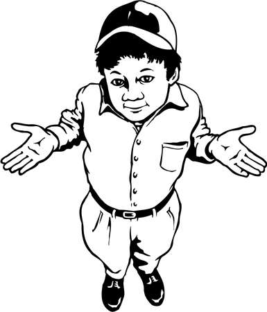 A dunno kid illustration on white background.