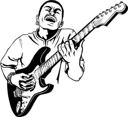 Guitar Player Illustration Stok Fotoğraf - 87613127