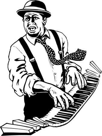 Een illustratie van de pianospeler op witte achtergrond.