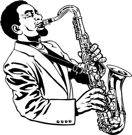 A saxophone player illustration on white background.