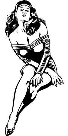 A sexy woman illustration on white background.
