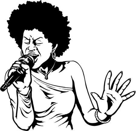 白い背景に歌手のイラスト。