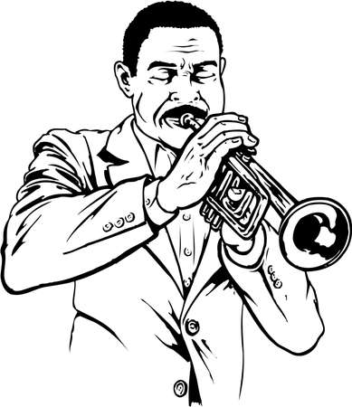 A trumpet player illustration on white background.