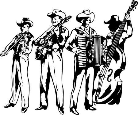 A western band illustration on white background.