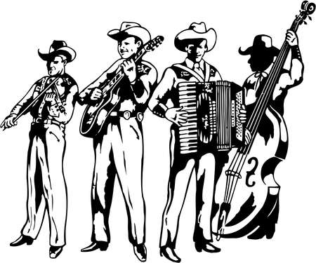 A western band illustration on white background.
