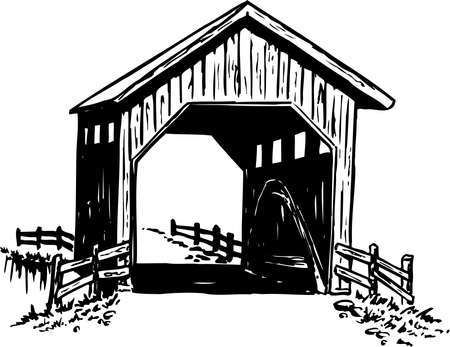 Covered Bridge Illustration