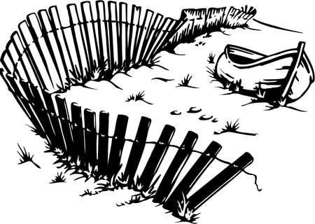Boat on Beach Illustration Çizim
