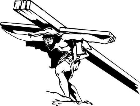 Jesus Carrying Cross Illustration Vettoriali