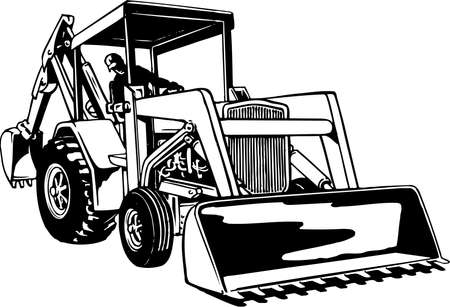 Front loader illustration on white background.