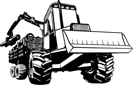 Log mover illustration on white background. Ilustrace