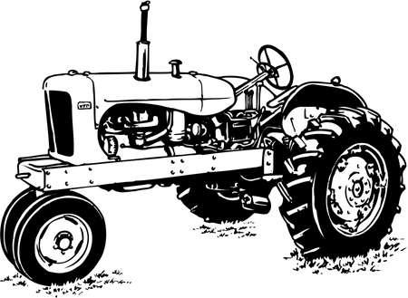 Tractor illustration on white background. Illustration
