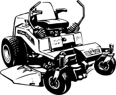 Lawn mower illustration on white background. Çizim