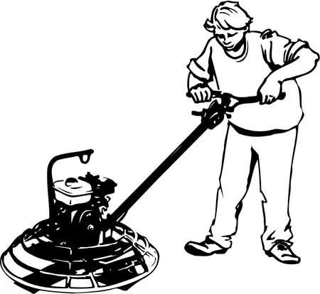 Illustrazione di lavoratore di cemento. Vettoriali