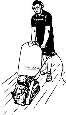 Vloer schuurmachine illustratie op witte achtergrond.