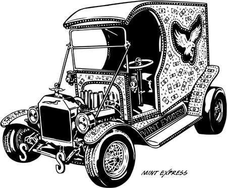 Custom Car Mint Express Illustration 向量圖像