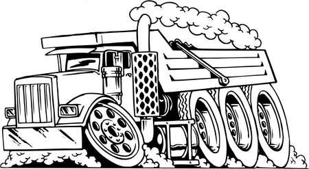 Dump Truck Cartoon  イラスト・ベクター素材