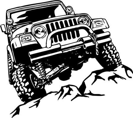 Truck Climbing Illustration  イラスト・ベクター素材