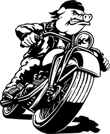 Motorcycle Hawg Illustration