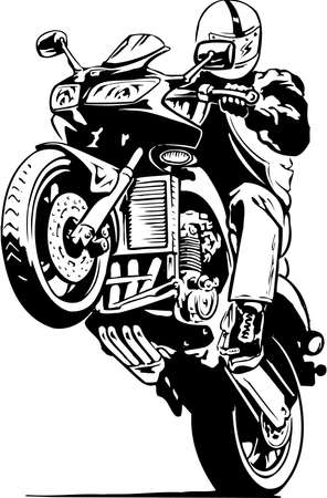 Motorcycle Wheelie Illustration Illustration