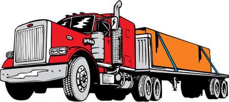 Flatbed Tractor Trailer Illustration