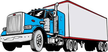 トラクター トレーラーの図  イラスト・ベクター素材