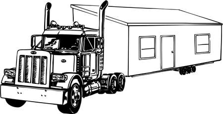 Truck with Mobile Home Illustration Illustration
