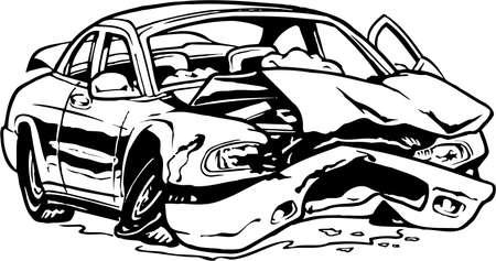 Illustrazione di auto distrutta Vettoriali