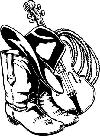 Hat boots rope and fiddle illustration. 일러스트