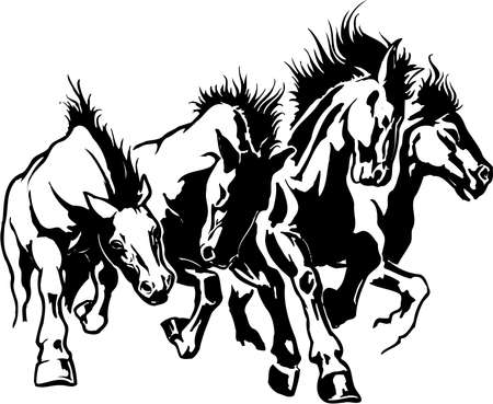 Horses stampeding illustration. Çizim