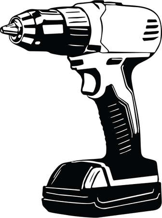 Cordless Drill Vector Illustration Illustration