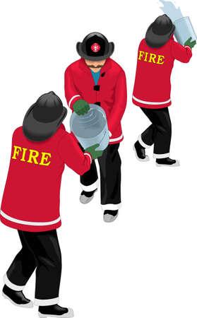 Fire Fighting Bucket Brigade Vector Illustration