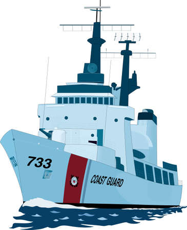 Coast Guard Cutter Vector Illustration