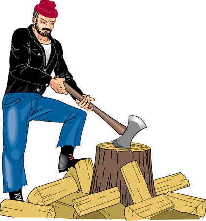 Chopping Wood Vector Illustration