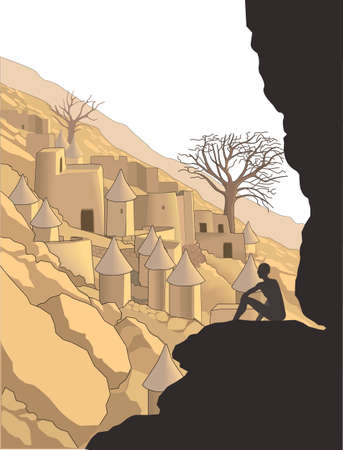 Dogon Village Vector Illustration Ilustração
